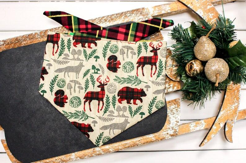 xmas dog bandana Holiday dog bandana Plaid Dog Bandana reversible dog bandana Christmas Dog Bandana camping Dog bandana