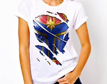 c194ee44 3D funny print fake captain marvel tshirt shirt women tee white and black  color