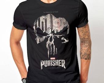 4e97feba Funny print The Punisher t shirt marvel shirt unisex tee black color