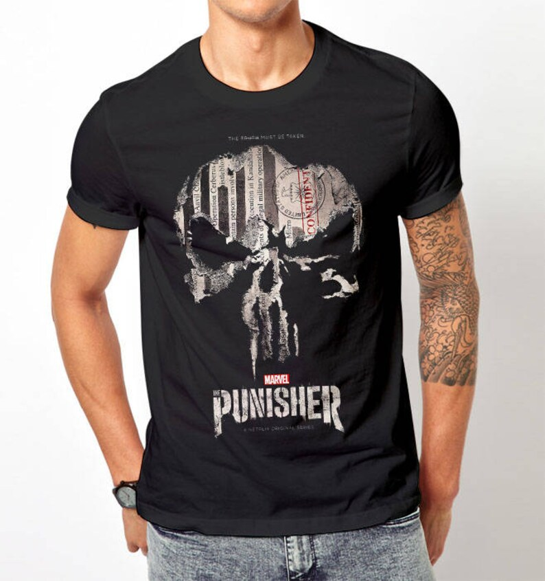 3f2cc8872 Funny print The Punisher t shirt marvel shirt unisex tee black | Etsy