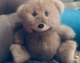 Mink fur teddy bear Molly, real fur teddy bear