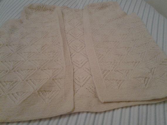Vintage Women Wool Cardigan, Cream Color Cardigan,