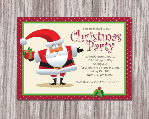 printable christmas party invitation christmas party etsy