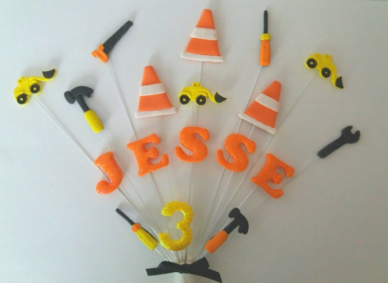 digger construction birthday cake topper Handmade cake decoration Building personalised name and age