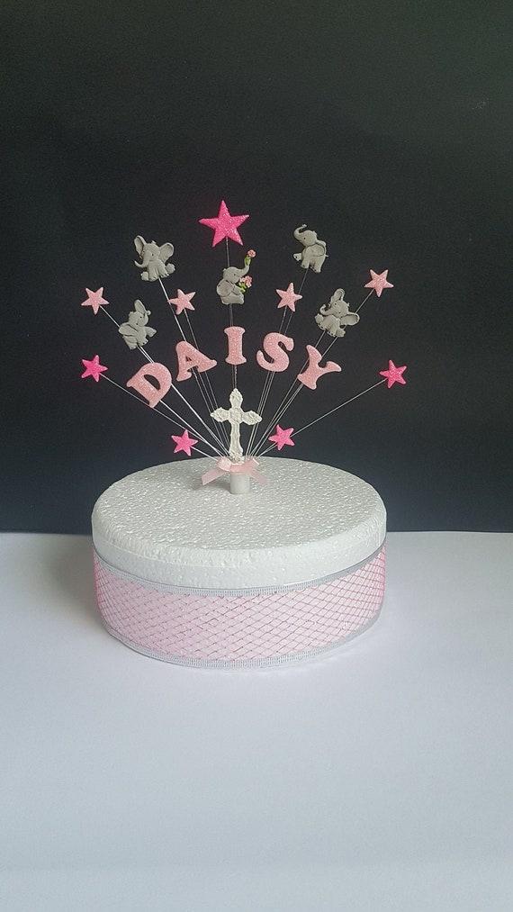Enjoyable Cute Elephant Birthday Christening Cake Topper Personalised Etsy Funny Birthday Cards Online Necthendildamsfinfo