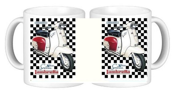 CERAMIC MUG LAMBRETTA // VESPA SCOOTER IDEAL GIFT PERSONALISED IF REQUIRED