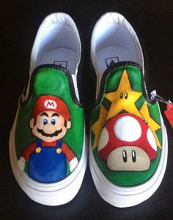 peint peintes Bros Super Chaussures VANS Mario chaussures x48Owf