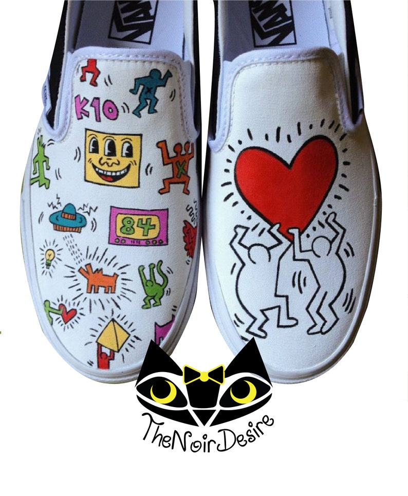 b5f52e54589952 Vans shoes with hand-painted Keith haring design