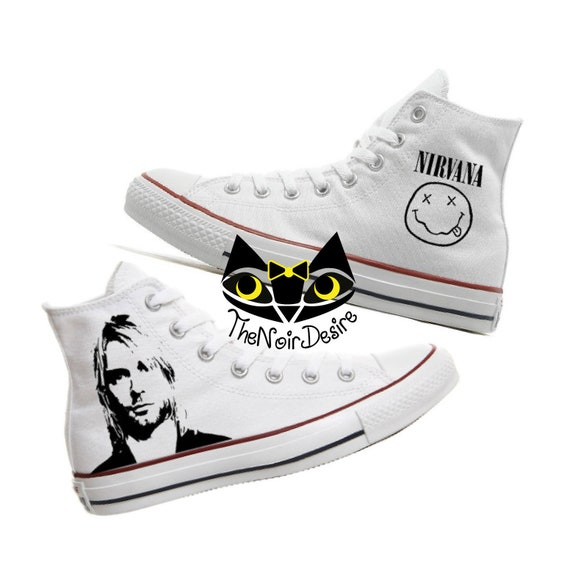 Converse Kurt Cobain Nirvana shoes hand painted