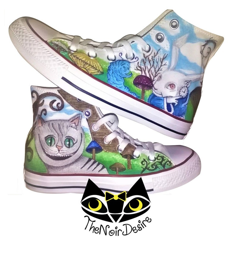 55a1f2ad2ea6 Original Converse shoes with Alice in Wonderland hand-painted