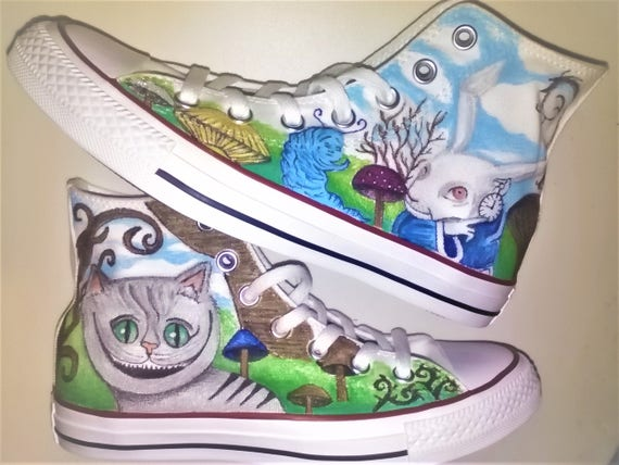 c2228dec37fb Original Converse shoes with Alice in Wonderland drawing hand