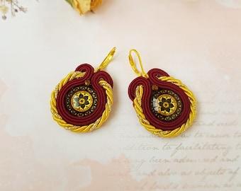 Marsala Dangle Soutache Earrings, Mandala Soutache Earrings, Soutache Earrings, Boho Earrings, Marsala - yellow Earrings, Christmas gift