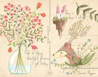 Ansichtkaart Bloemen