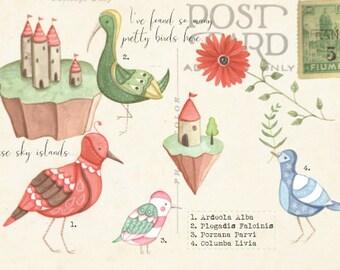 Ansichtkaart Vogels