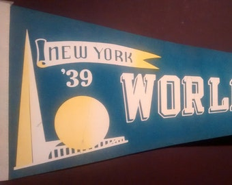 1939 NY World's Fair Pennant Repro Film Prop! Authentic Vintage '82 Felt Pennant! '39 New York World's Fair Felt Pennant From The Natural!!