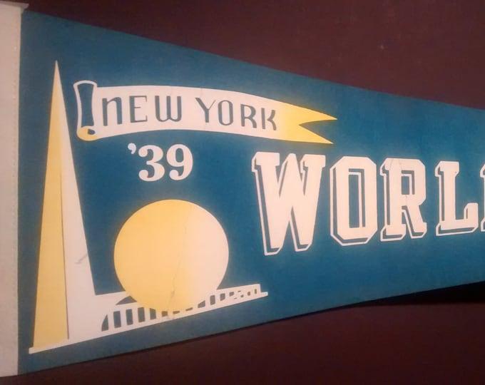 1939 NY World's Fair Pennant Repro Film Prop! Authentic Vintage '82 Felt Pennant! '39 New York World's Fair Felt Pennant From The Natural!!