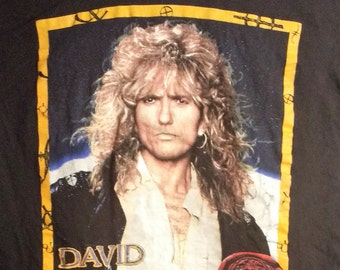 Whitesnake/David Coverdale Concert T Shirt! Authentic Vintage 1990!Whitesnake ~ Slip Of The Tongue World Tour Size XL(Ink Cracking In Spots)