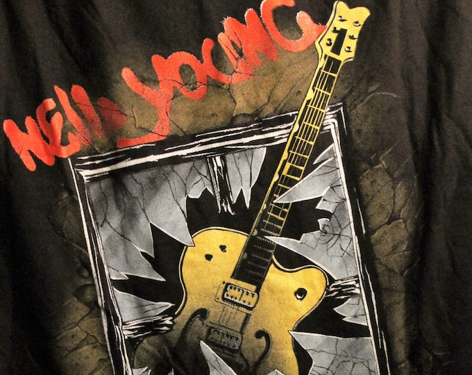 Neil Young Concert T Shirt! 1986 Authentic Vintage Raglan T Shirt! Neil Young & Crazy Horse ~ Garage'86 Some Colour Bleed on White!Size XL