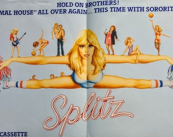 Splitz, Poster, Vestron Videocassette One Sheet! Authentic Vintage 1985! Splitz, Poster! Soundtrack w/ Blondie, Bonnie Tyler + Many More!
