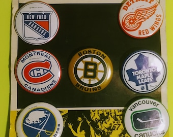 Vintage NHL Hockey Pins Carded!Authentic Vintage 69!NHL Pins, Rangers, Red Wings, Canadiens, Maple Leafs, Bruins, Sabres,Canucks Fathers Day
