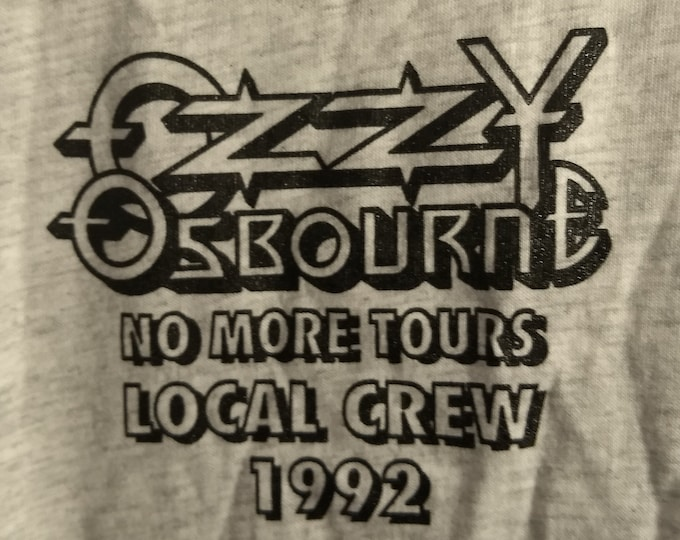 "Ozzy Osbourne Official Crew T Shirt! Authentic Vintage 1992! Ozzy "" No More Tours"" First Farewell Tour! Ozzy Zakk Wylde/Alice In Chains!"