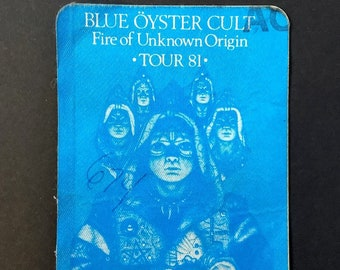 Blue Oyster Cult Backstage Pass Satin! Authentic Vintage 1981! BOC Backstage Pass Fire Of Unknown Origin Tour Hard To Fine Blue Oyster Cult!