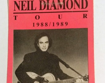 """Neil Diamond Satin Backstage Pass! Authentic Vintage 1988! Neil Diamond Tour Pass Coincided With """"Best Years Of Our Lives"""" Album! Intact!"""