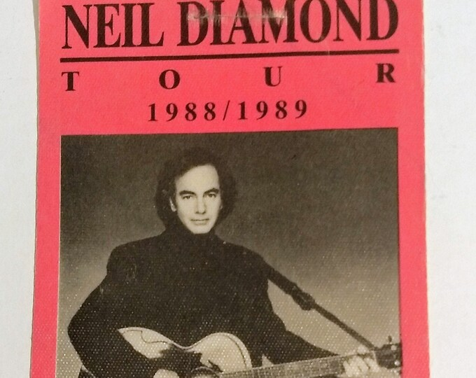 "Neil Diamond Satin Backstage Pass! Authentic Vintage 1988! Neil Diamond Tour Pass Coincided With ""Best Years Of Our Lives"" Album! Intact!"