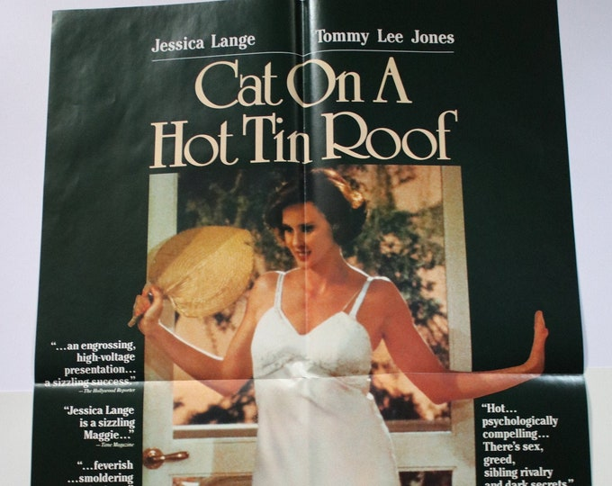 Cat On A Hot Tin Roof Vestron Poster! Tommy Lee Jones / Jessica Lange /Rip Torn! Authentic Vintage 1985! Vestron Video Poster! Never Used!NM