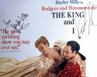 Hayley Mills Victor Talmadge Autographed Show Poster! Authentic Vintage 1997! Rodgers & Hammerstein's The King and I Window Card!Autographed
