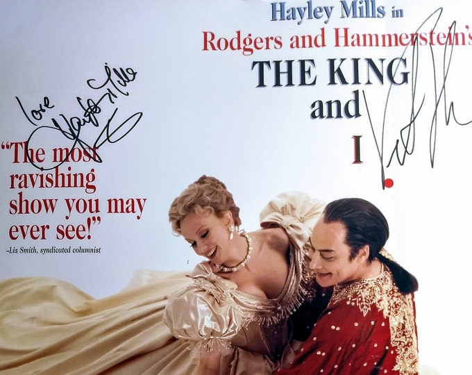 "Hayley Mills Autographed ""King And I"" Show Poster! Authentic Vintage 1997! Rodgers & Hammerstein's ""The King and I""Window Card! Rare Poster!"