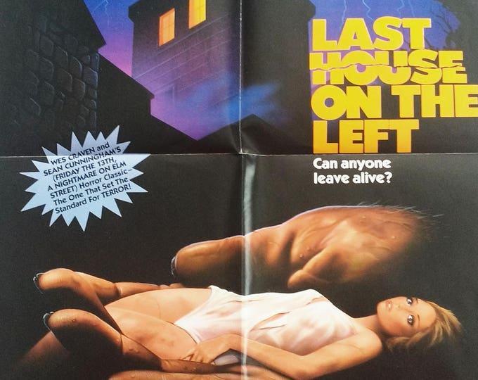 Wes Craven~Last House Poster! Authentic Vintage 1985! Last House on the Left ~ Vestron Video Poster! Wes Craven Classic Horror Tale! Unused!