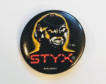 "Styx, Pinback, 1.75"" Promo Pinback! Authentic Vintage '83! Styx ""Mr Roboto' Collectors Pin, From ""Kilroy Was Here"" 88 City US/Canada Tour"