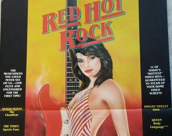 Red Hot Rock Poster Vestron Video QUEEN! DURAN DURAN! Traci Lords !Authentic Vintage'85! Red Hot Rock Poster + Standee!Never Displayed!24x36