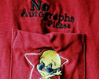 "Tweety, T Shirt, Embroidered Tweety Bird on Pocket! Authentic Vintage 2000! Tweety, "" No Autographs Please"", Hollywood Tweety! Licensed WB!"