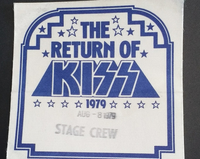 KISS Backstage Pass Satin! Authentic Vintage 1979! KISS ~ The Dynasty Tour / The Return Of KISS Tour! Original Intact Unused Pass!  Exc Cond