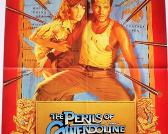 Perils Of Gwendoline Tawny Kitaen! Poster+ Promo Flyswatter Vestron Video! Authentic Vintage 1984! Vestron Promo Poster + Flyswatter!