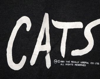 Cats T Shirt Rare Original Broadway NYC! Authentic Vintage '82! Cats Winter Garden Theatre Oct 7 '82 Vintage Original Screen Stars T Shirt!