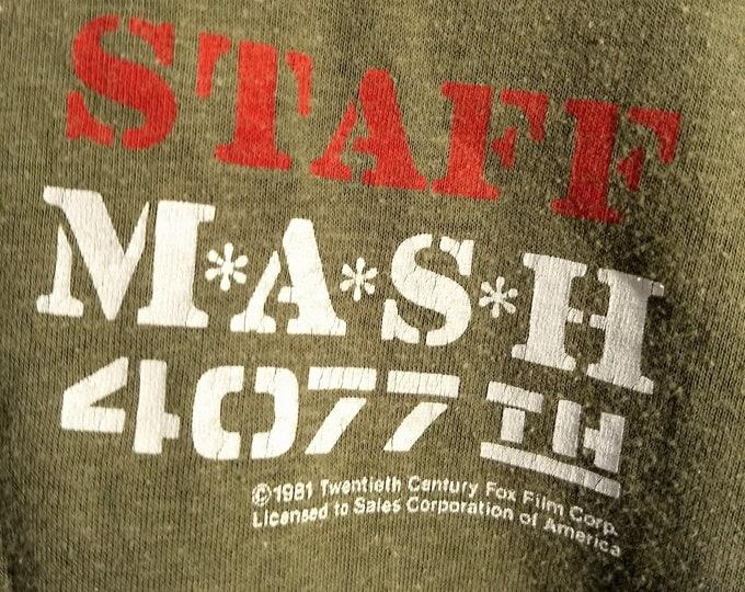 MASH, 4077TH T Shirt, Licensed 20TH Century Fox, Vintage TV Show Promo! Authentic Vintage 1981! MASH 4077 T Shirt! Television Promo Shirt!