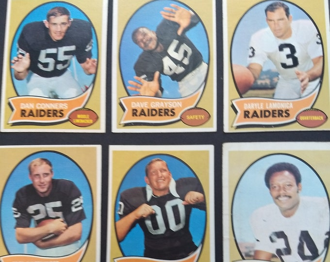 Oakland Raiders 1970 Topps Cards Complete Team Set! Authentic Vintage 1970! Raiders Lamonica/Otto/Davidson + 7 More! Good-EXC Condition!