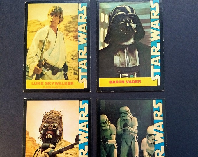 Star Wars Cards! Scarce Wonder Bread Incentive! Authentic Vintage 1977! Star Wars Trading Cards! Luke/Darth/Sand People/Storm Trooper! G-VGs