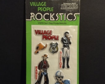 Village People Puffy Stickers! Authentic Vintage 1979! Village People Puffy Stickers Cowboy Cop Laborer  (Randy Victor David) Still Sealed!