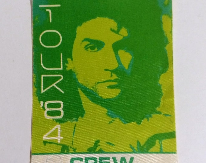 "Billy Squier Satin Backstage Crew Pass!Authentic Vintage 1984!Billy Squier Signs Of Life Tour ""Rock Me Tonite"" ""All Night Long"" Opener Ratt!"