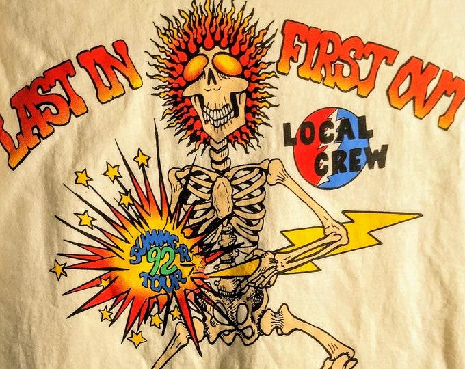 """The Grateful Dead, Concert T Shirt, Licensed Tech Crew Shirt! Authentic Vintage '92! The Dead """"92 Summer Tour"""" Kick-Off 6/6/92 Rich Stadium!"""