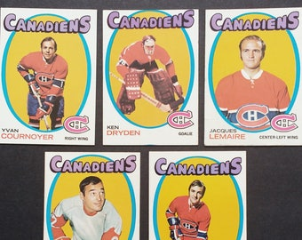 Montreal Canadiens (Ken Dryden Rookie)Topps Cards! Authentic Vintage 1971! Habs ~ Mahovlich, Dryden + 3 More!