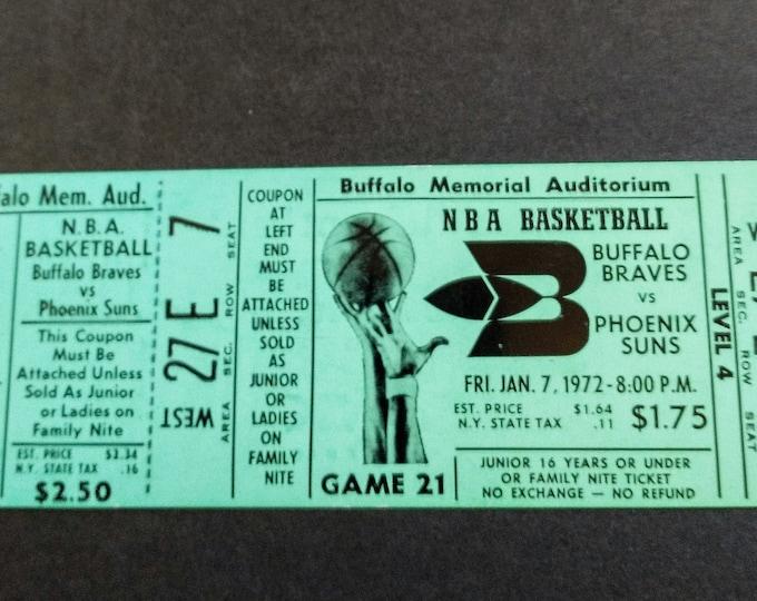 Buffalo Braves Complete Ticket from  2nd Season! Authentic Vintage 1972! Buffalo Braves /Phoenix Suns! Buffalo Memorial Auditorium Near Mint