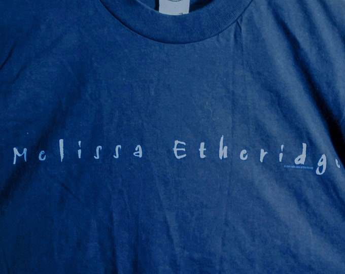 "Featured listing image: Melissa Etheridge Concert T, Tech Crew Shirt! Authentic Vintage 2001!Melissa Etheridge ""live...and alone"" Tour! Support for ""Skin"" Album!"