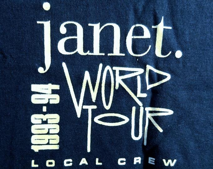 """Janet Jackson, T Shirt, Tech Crew T Shirt! Authentic Vintage '93! Janet Jackson """"World Tour '93-'94"""" Tech Crew Tee! NEVER WORN! XL! Blue!"""
