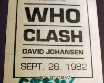 The Who, The Clash, Satin Backstage Pass! Authentic Vintage 1982! The Who, The Clash, Johansen, Super Rare! Rich Stadium Orchard Park, NY
