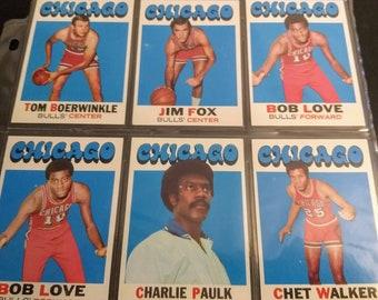 Chicago Bulls, Topps Basketball Cards! Authentic Vintage 1971-72! Topps NBA Cards,#3 Jim Fox, #15 Boerwinkle,#45 Love, #66 Walker,#102 Paulk